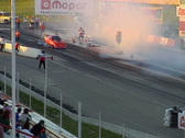 Motorsports, drag racing, Top Alcohol Funny Car burnout from stands Stock Footage