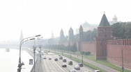 Car traffic under the Kremlin wall, Moscow, Russia Stock Footage