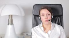 Pretty customer service operator or secretary Stock Footage