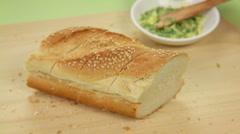 Buttering Garlic Bread Stock Footage