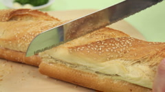 Close Up Cutting French Stick Stock Footage