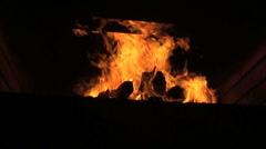 Burn fire with wood and legs Stock Footage