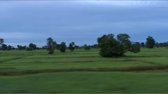 Train ride, landscape with ricefields - stock footage