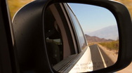 Stock Video Footage of Road in Death Valley seen in a mirror