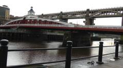 Swing bridge and high level bridge, over river Tyne Stock Footage