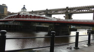 Stock Video Footage of Swing bridge and high level bridge, over river Tyne