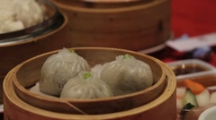 Close up of dim sum in Chinese restaurant Stock Footage