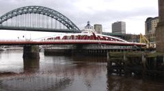 Swing Bridge and Tyne Bridge Newcastle Stock Footage