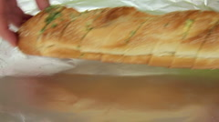 Wrapping Garlic Bread In Foil Stock Footage