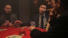 Female picking card in black jack game Stock Footage