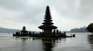 Stock Video Footage of Pura Ulun Danu Bratan Temple, Bedugul Mountains, Bratan Lake, Bali, Indonesia
