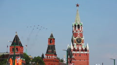 Ten fighter planes aligned delta fly over Red Square Stock Footage