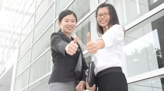 asian business girl thumbs up - stock footage