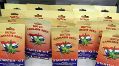 Marijuana seeds for sale in Amsterdam, Holland Stock Footage