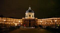Institut de France, night view Stock Footage