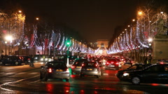 Many cars traveling at crossroads of Champs-Elysees Stock Footage