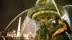 Luxor obelisk and Fontaine des Mers at Place de la Concorde Stock Footage