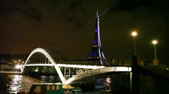 Eiffel Tower, Debilly Footbridge and river Seine in Paris - stock footage