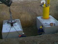 Installing concrete bunker winter pan Stock Footage