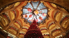 Christmas tree and department Galeries Lafayette Company Stock Footage