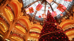 Christmas tree in department Galeries Lafayette Company Stock Footage
