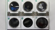 Stock Video Footage of Washing machines in public laundry room