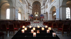 Interior Cathedral of St. Louis in Paris Stock Footage