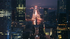 Historical axis, passing from center Paris to west, by night. Stock Footage
