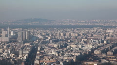 Paris left to right from Montparnasse tower Stock Footage