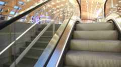 Steps of escalator, raising in great hall Paris airport Stock Footage