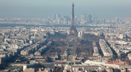 Stock Video Footage of Eiffel Tower in middle of old and new buildings city Paris