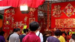Singapore 004 Kiinalaiset ostamassa uudenvuodenaatto koristelu China Town Arkistovideo