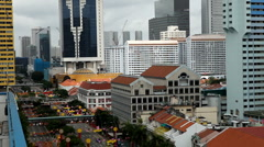 Singapore 006 - Singapore Skyline from China Town in New Year Eve Holiday Stock Footage