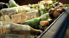 Tequila Bottle into Recycling Bin GFHD Stock Footage