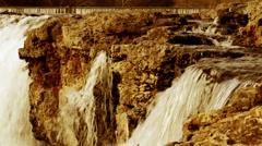 Falls Over Rock Dusk Stock Footage