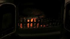 Woodburner glowing embers Stock Footage