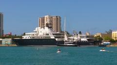 Puerto Rico - Le Grande Bleu Mega Yacht in San Juan Bay 4 Stock Footage