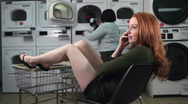 Laundry day conversation Stock Footage