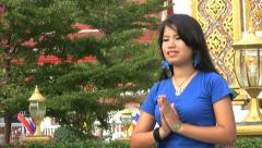 Asian Girl Does Traditional Thai Greeting Stock Footage