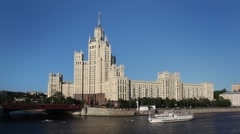 High-rise building from Stalin time on Kotelnicheskaya quay Stock Footage