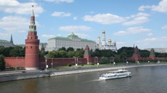 Kremlin from the Moscow river front view Stock Footage