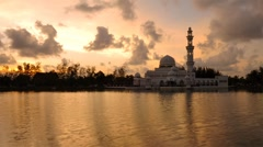 Sunset at floating mosque malaysia Stock Footage