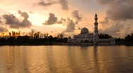 Stock Video Footage of sunset at floating mosque malaysia