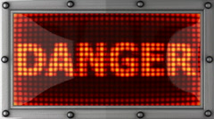 danger announcement on the LED display - stock footage