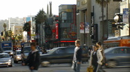 Stock Video Footage of 3D Stereoscopic Hollywood  05 Timelapse Traffic and Crowds Loop L eye