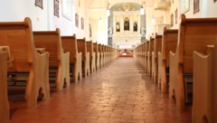 Empty church Pews Stock Footage