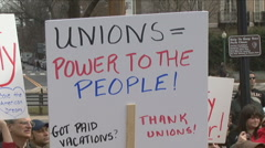 Unions protest Wisconsin Governor - stock footage