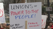 Stock Video Footage of Unions protest Wisconsin Governor