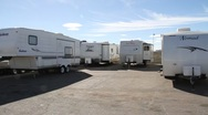 Travel Trailers on Dealer lot Stock Footage