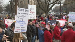 Unions protest Wisconsin Governor Stock Footage